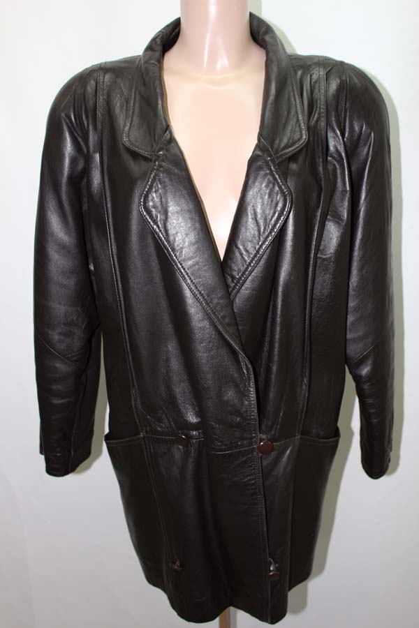 manteau en cuir noir 40 l veste coat leather moto 2 ebay. Black Bedroom Furniture Sets. Home Design Ideas