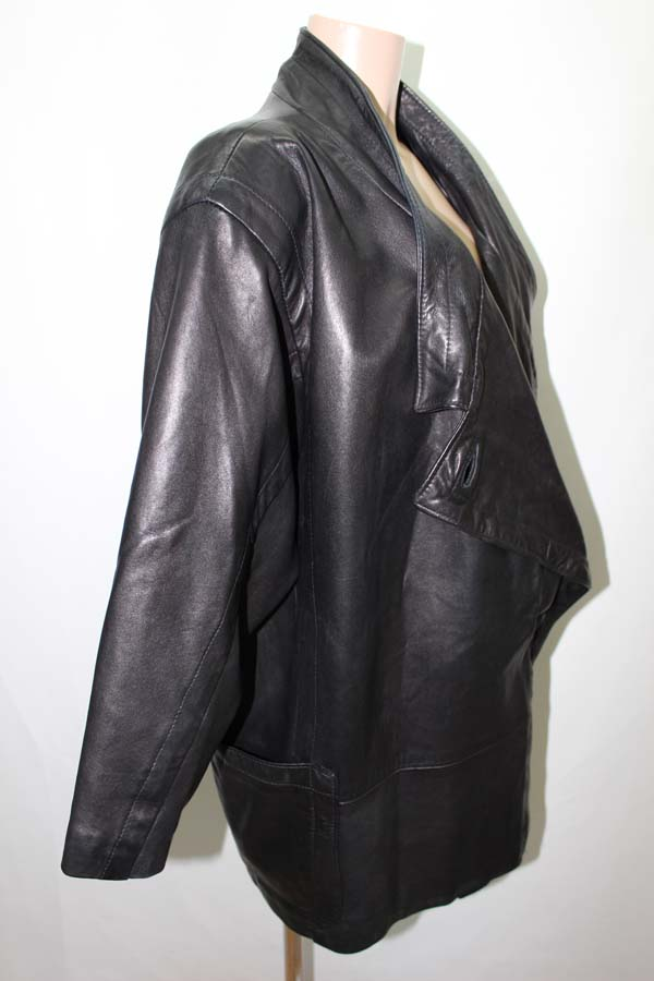 manteau en cuir noir veste coat leather moto ebay. Black Bedroom Furniture Sets. Home Design Ideas